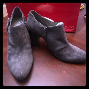 Never worn Grey bootie with silver buckle